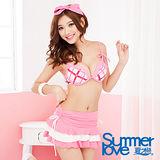 [夏之戀SUMMERLOVE]粉色格狀比基尼三件式泳衣S13790