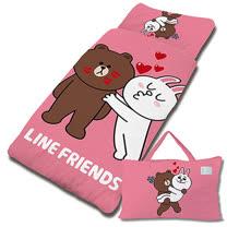 【享夢城堡】超纖單用4X5兒童睡袋-LINE FRIENDS KISS啾咪-粉