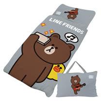 【享夢城堡】超纖單用4X5兒童睡袋-LINE FRIENDS 熊大愛自拍-灰