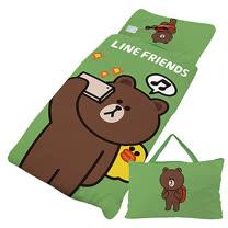 【享夢城堡】超纖單用4X5兒童睡袋-LINE FRIENDS 熊大愛自拍-綠