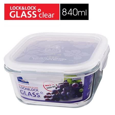 樂扣樂扣正方型耐熱烤箱玻璃保鮮盒-840ML(LLG2251V)-兩件組