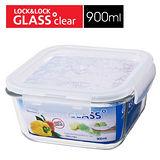 樂扣樂扣正方型耐熱烤箱玻璃保鮮盒-藍色900ML(LLG2272B)-兩件組