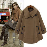 【韓系女衫 中大尺碼】歐美新款時尚毛呢個性斗篷大衣外套