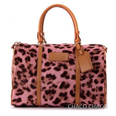 【CHACO韓國】華麗豹紋柔軟馬毛波士頓包no.L997*粉色