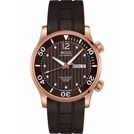 MIDO Multifort Diver 系列旗鑑日曆機械腕錶-咖啡 M0059303729000