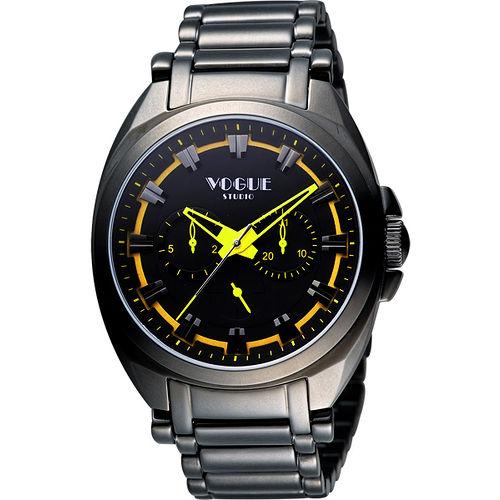 VOGUE 嶄新系列日曆時尚腕錶-IP黑X黃 9V0434DY