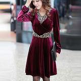 【公主衣櫃 中大尺碼】 3060歐風優雅洋裝(紫紅色)