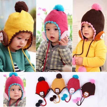 韓版((可愛小飛鷹)) 護耳保暖帽 毛線帽