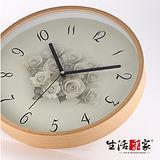 【生活采家】婉約玫瑰30cm木框靜音掛鐘#01028