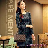 預購【CHACO韓國】簡雅雙色格紋修身長袖洋裝CLDD-O-8*綠色M/L