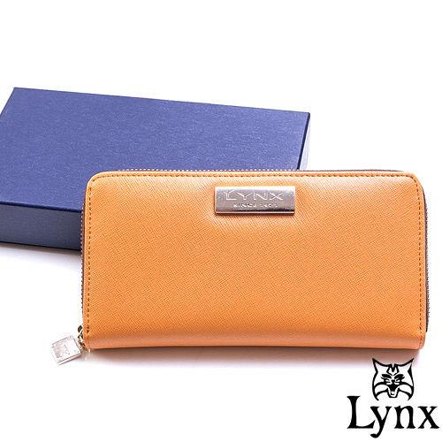 Lynx ~ LadyGirl 都會感真皮單拉鍊長夾~陽光橙