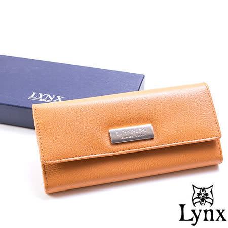 Lynx - LadyGirl 都會感真皮多卡三折式長夾-陽光橙