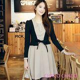 現貨+預購【CHACO韓國】假兩件外套式綁帶長袖連身洋裝*CLCA-O-5 米色ML