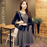 現貨+預購【CHACO韓國】假兩件外套式綁帶長袖連身洋裝*CLCA-O-5 灰色ML