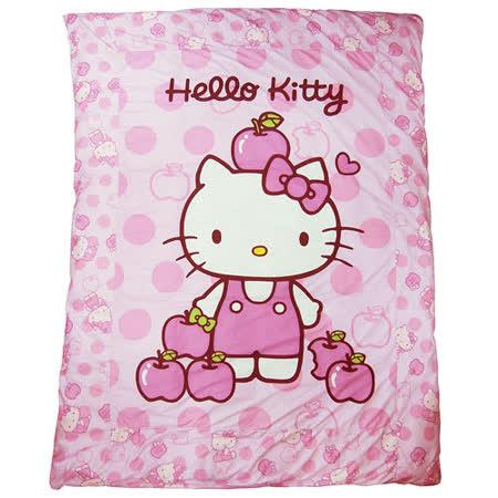 【享夢城堡】HELLO KITTY 粉紅蘋果 精絲絨暖被 (可拆洗式) +枕套1入