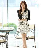 Kate❤Classic 韓版黑白印花尖領收腰洋裝(DS00050)
