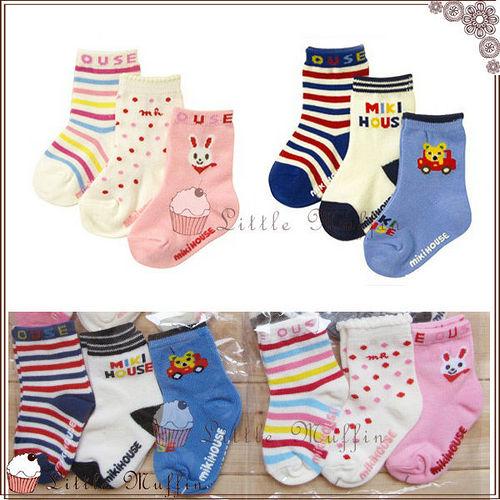 日 三雙一組 棉質兔子小熊條紋圖案止滑中筒襪室內襪 兔兔款熊熊款 ^~OTH008^~~L