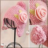 精緻手工編織 護耳大花朵球球毛線帽 保暖雙層設計 [har028]【Little Muffin小馬芬】