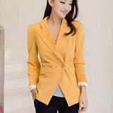 【麗質達人中大碼】9996休閒西裝外套(黃色)