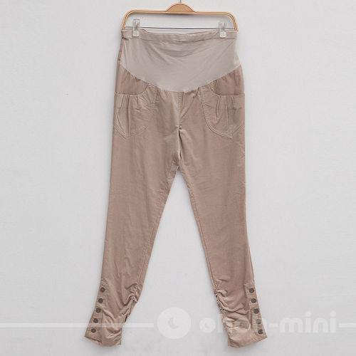 【ohoh-mini孕婦裝】顯瘦抓縐短绒蝴蝶結孕婦長褲