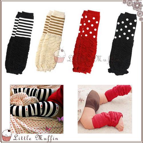 ~Little Muffin小馬芬~WMI025 日單 針織棉條紋點點柔綿皺折泡泡襪套 冬