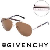 GIVENCHY 法國魅力紀梵希經典LOGO都會傳奇飛行員太陽眼鏡(棕) GISGV461544P