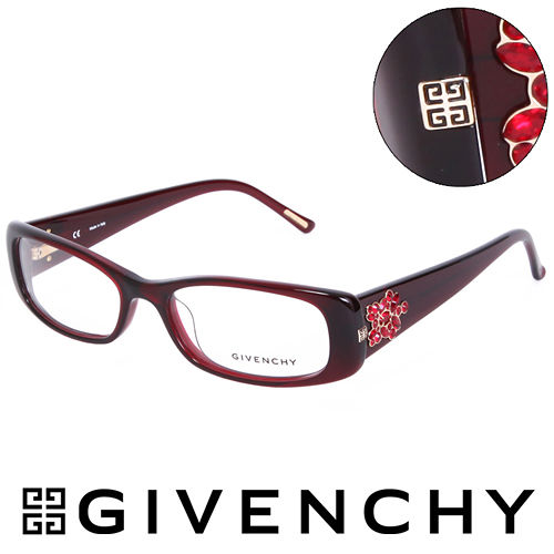 GIVENCHY 法國魅力紀梵希 華麗珠寶框  平光眼鏡^(紅^) GIVGV745095