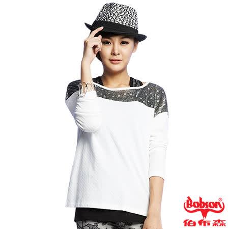 BOBSON 女款緹織布連帽長袖外套(33097-01)