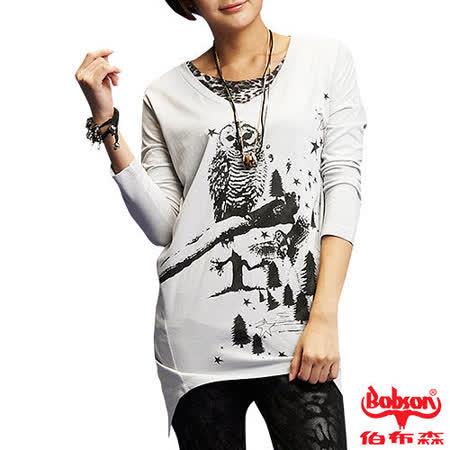 BOBSON 女款貓頭鷹印圖寬版長袖上衣(33084-82)