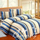 BUTTERFLY【風尚雅格】雙人加大三件式枕套床包組-藍