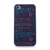 COACH 時尚愛心塗鴉LOGO iPhone 5手機保護殼-藍紫色
