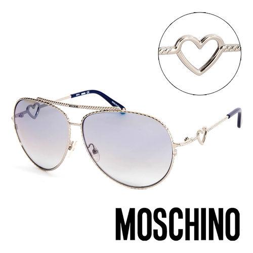 MOSCHINO 義大利 鎖鍊 復古飛行員 太陽眼鏡^(銀^) MO53803