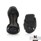 BUTTERFLY TWISTS - SIENNA皮革可折疊扭轉芭蕾舞鞋-經典黑