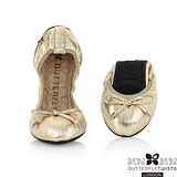 BUTTERFLY TWISTS - SIENNA皮革可折疊扭轉芭蕾舞鞋-香檳金