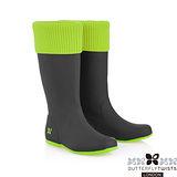 BUTTERFLY TWISTS -WINDSOR可折疊扭轉防水雨靴-黑/萊姆綠
