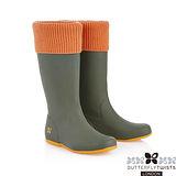 BUTTERFLY TWISTS -WINDSOR可折疊扭轉防水雨靴-綠/閃耀橘