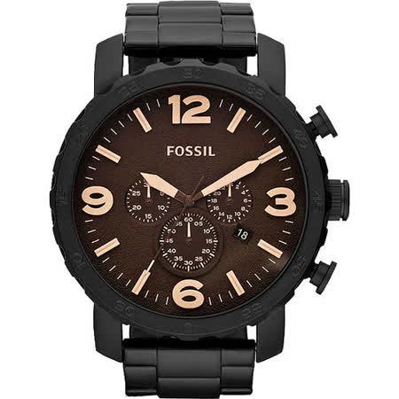 FOSSIL 大世紀戰神三眼計時腕錶-咖啡/IP黑 JR1356