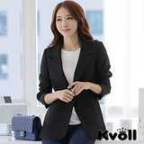 【KVOLL中大尺碼】黑色修身單扣長版西裝外套