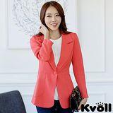 【KVOLL中大尺碼】桔色修身單扣長版西裝外套