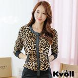 【KVOLL中大尺碼】時尚針織豹紋長袖上衣短外套