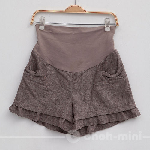 【ohoh-mini孕婦裝】英倫學院風羊毛荷葉邊孕婦短褲
