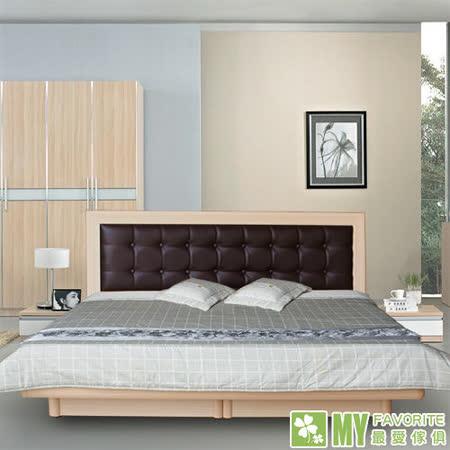 最愛傢俱 新復古款式 《白橡 5尺後掀床台 方格造型 》 雙人後掀床架