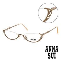 Anna Sui 日本安娜蘇 復古時尚立體精雕造型平光眼鏡(金) AS02501