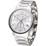 cK 競速玩家經典3眼計時腕錶-銀白K7627126