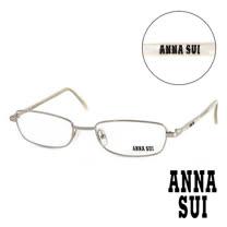 Anna Sui 日本安娜蘇 時尚珠光金屬造型平光眼鏡(銀) AS05404
