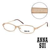 Anna Sui 日本安娜蘇 復古質感金屬架造型平光眼鏡(金) AS08602