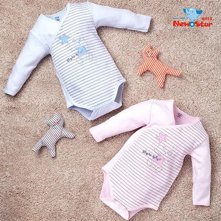 【聖哥-明日之星】嬰兒連身服(厚、長袖短褲、護手反摺、全釦)藍、粉紅可選