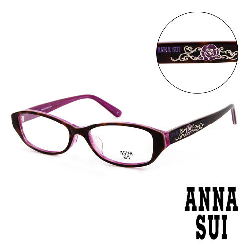 Anna Sui 安娜蘇 豹紋薔薇 平光眼鏡^(咖啡^) AS575188