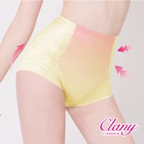 【可蘭霓Clany】高腰無痕透氣緹花M-2XL三角提臀褲 初暮黃 1907-71