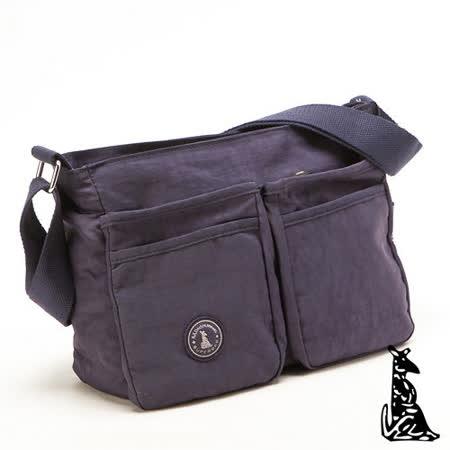 冰山袋鼠 - 輕盈休閒人氣款雙口袋型隨身側背包-深紫